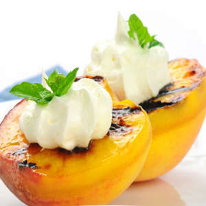 grilled peaches with cream