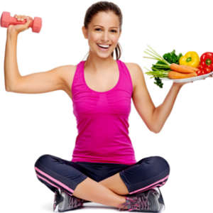 woman holding dumbbell and a plate of vegetables